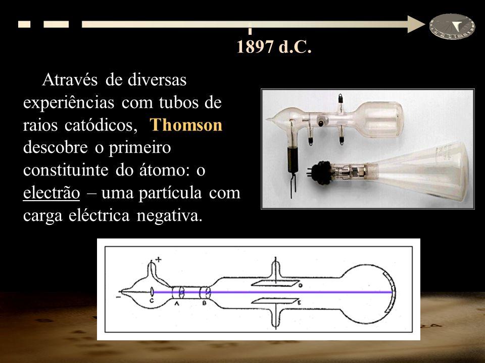 Através de diversas experiências com tubos de raios catódicos, Thomson descobre o primeiro constituinte do átomo: o electrão – uma partícula com carga