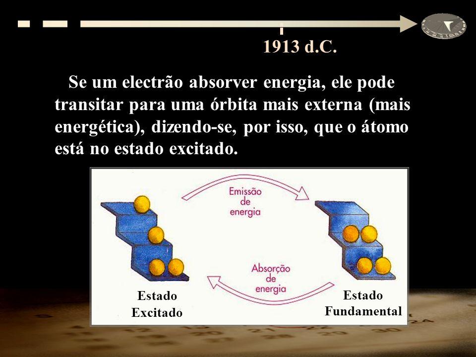Se um electrão absorver energia, ele pode transitar para uma órbita mais externa (mais energética), dizendo-se, por isso, que o átomo está no estado e