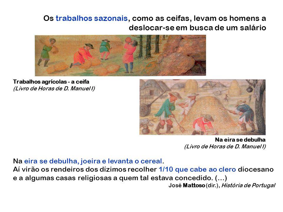 Os trabalhos sazonais, como as ceifas, levam os homens a deslocar-se em busca de um salário Trabalhos agrícolas - a ceifa (Livro de Horas de D. Manuel