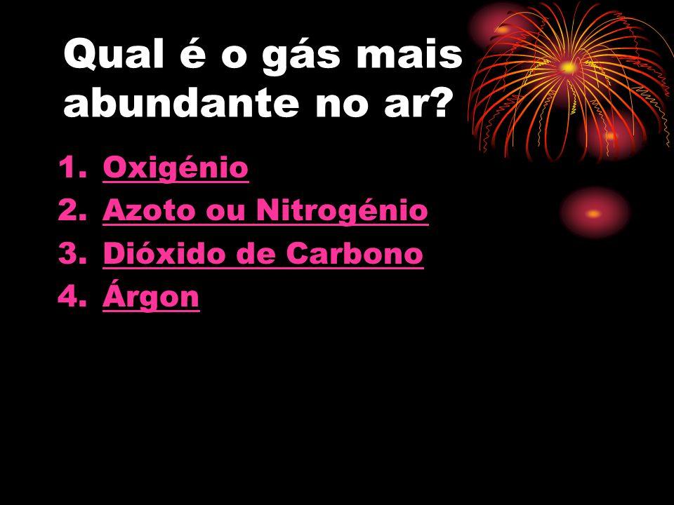 Qual é o gás mais abundante no ar.