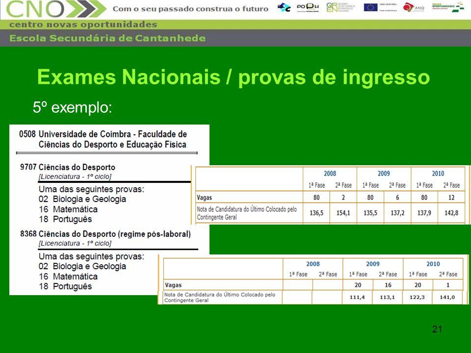 21 5º exemplo: Exames Nacionais / provas de ingresso