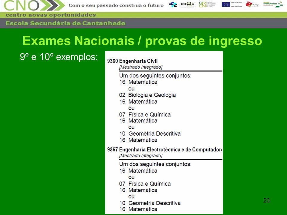 23 9º e 10º exemplos: Exames Nacionais / provas de ingresso