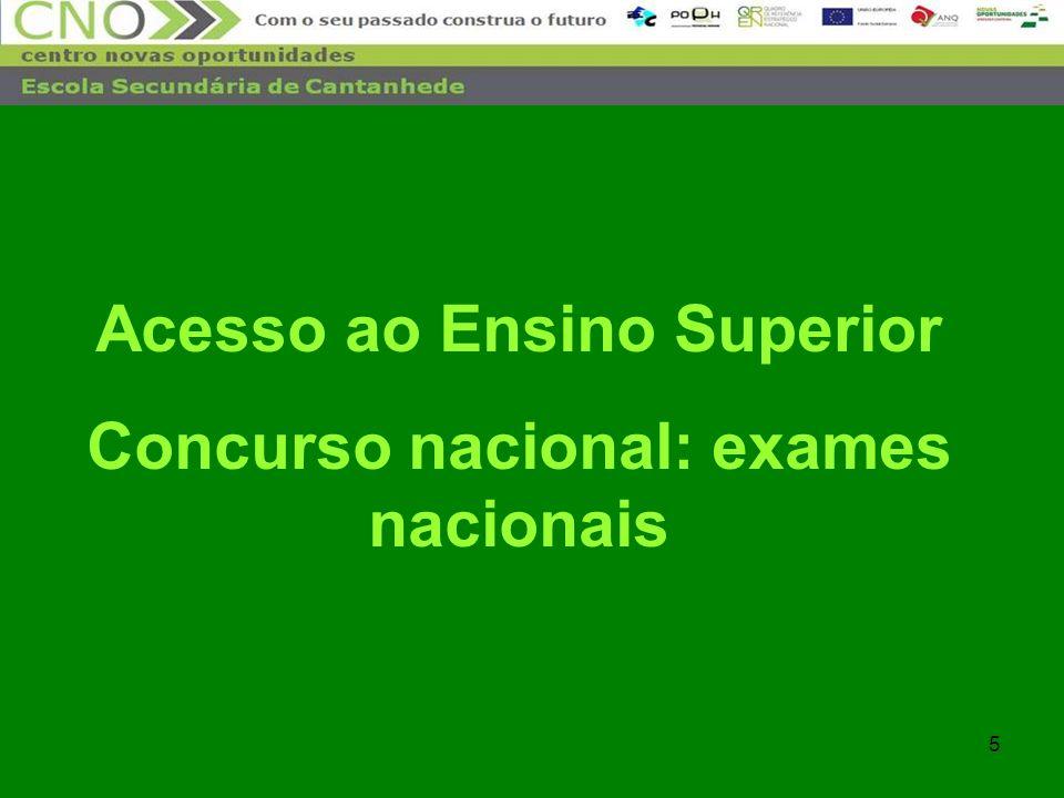 5 Acesso ao Ensino Superior Concurso nacional: exames nacionais