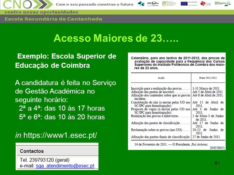 61 Exemplo: Escola Superior de Educação de Coimbra A candidatura é feita no Serviço de Gestão Académica no seguinte horário: 2ª a 4ª: das 10 às 17 hor