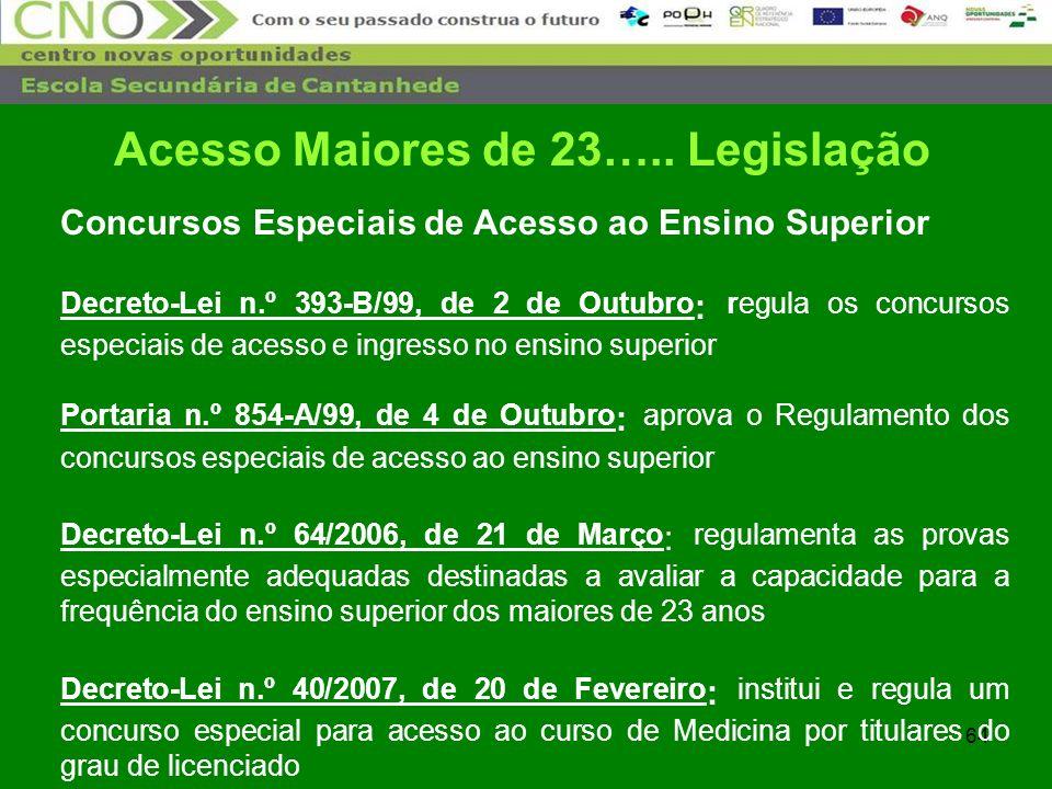 64 Concursos Especiais de Acesso ao Ensino Superior Decreto-Lei n.º 393-B/99, de 2 de Outubro : regula os concursos especiais de acesso e ingresso no