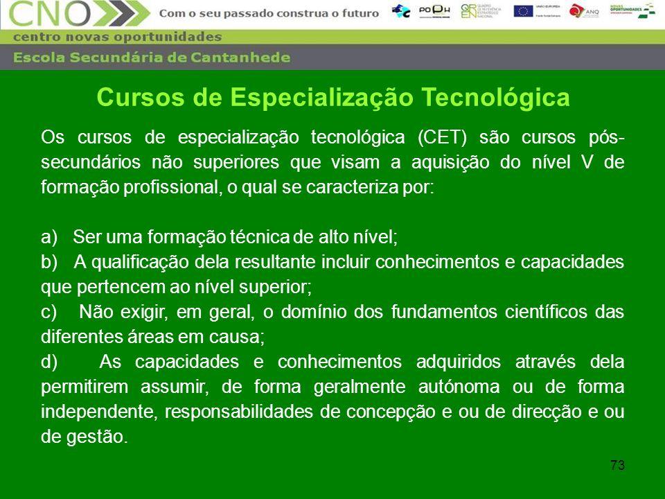 73 Cursos de Especialização Tecnológica Os cursos de especialização tecnológica (CET) são cursos pós- secundários não superiores que visam a aquisição