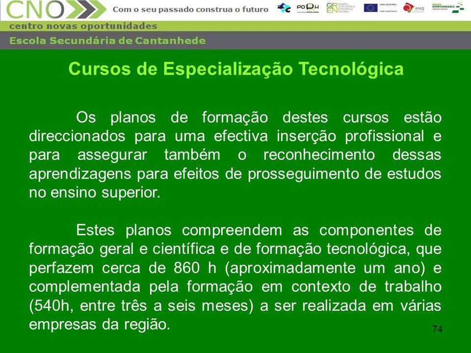 74 Cursos de Especialização Tecnológica Os planos de formação destes cursos estão direccionados para uma efectiva inserção profissional e para assegur