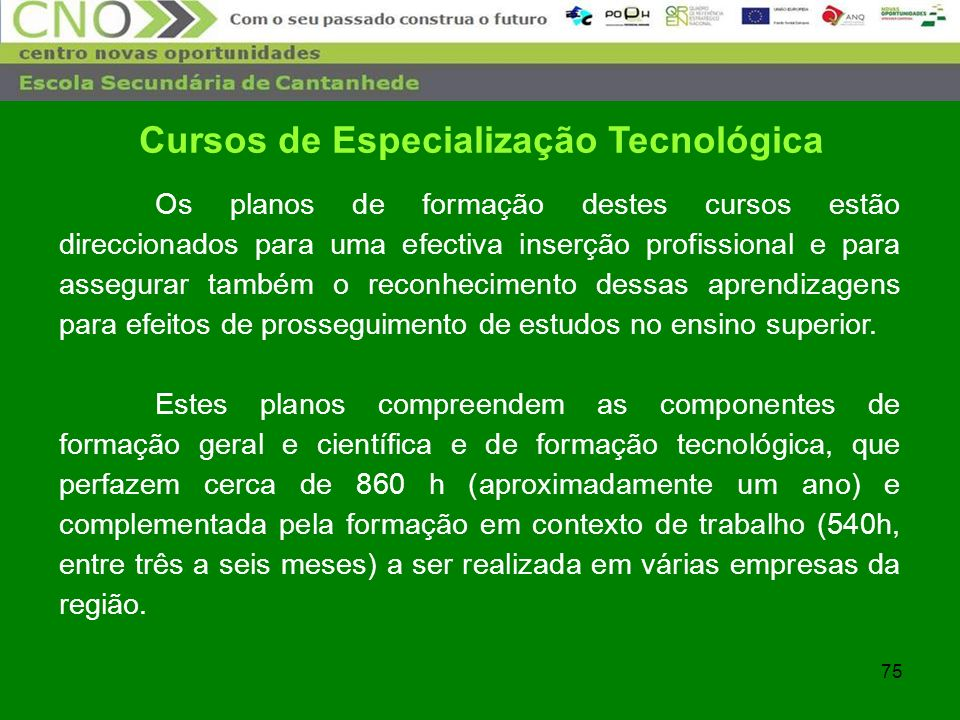 75 Cursos de Especialização Tecnológica Os planos de formação destes cursos estão direccionados para uma efectiva inserção profissional e para assegur