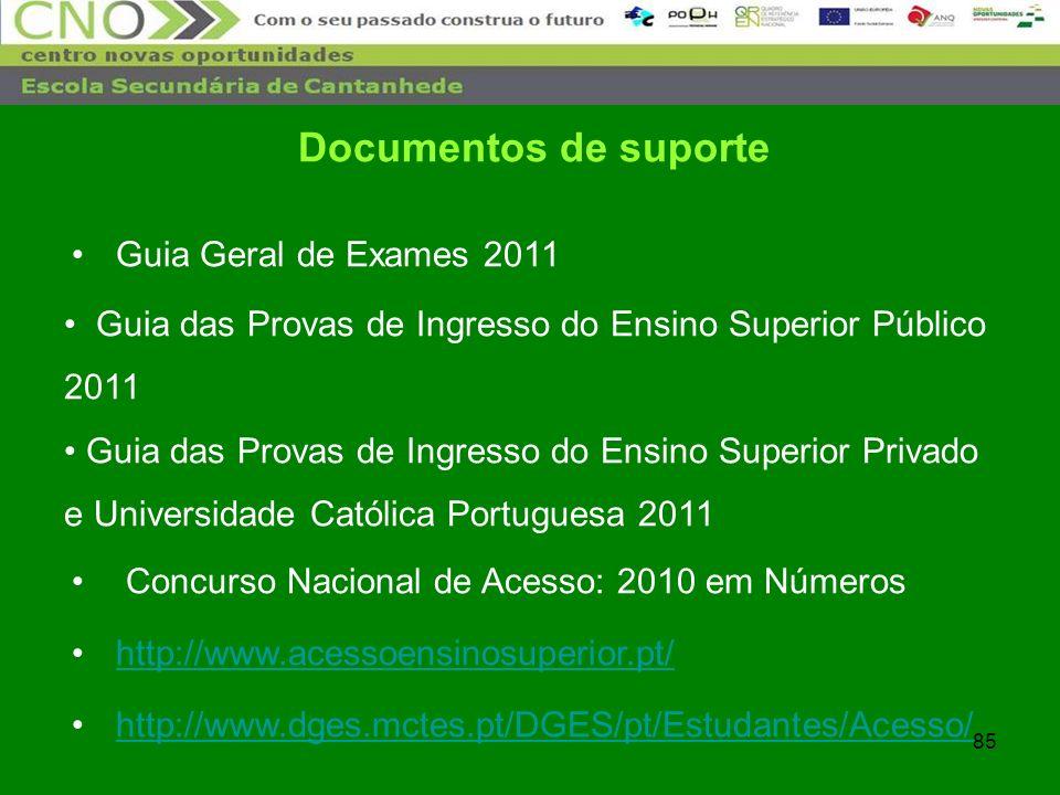 85 Documentos de suporte Guia Geral de Exames 2011 Guia das Provas de Ingresso do Ensino Superior Público 2011 Guia das Provas de Ingresso do Ensino S