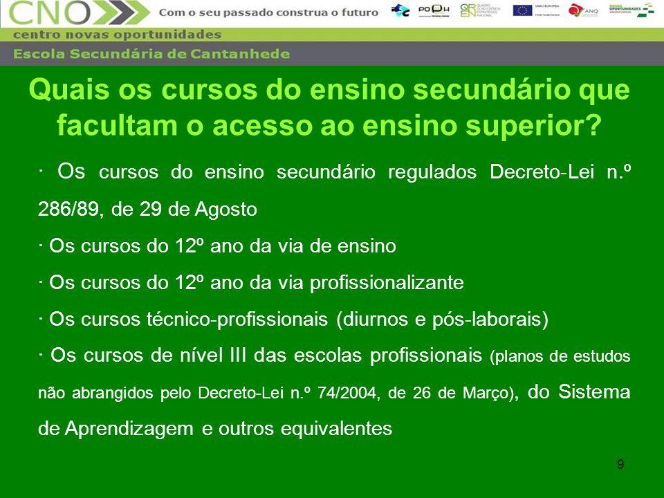 9 · Os cursos do ensino secundário regulados Decreto-Lei n.º 286/89, de 29 de Agosto · Os cursos do 12º ano da via de ensino · Os cursos do 12º ano da