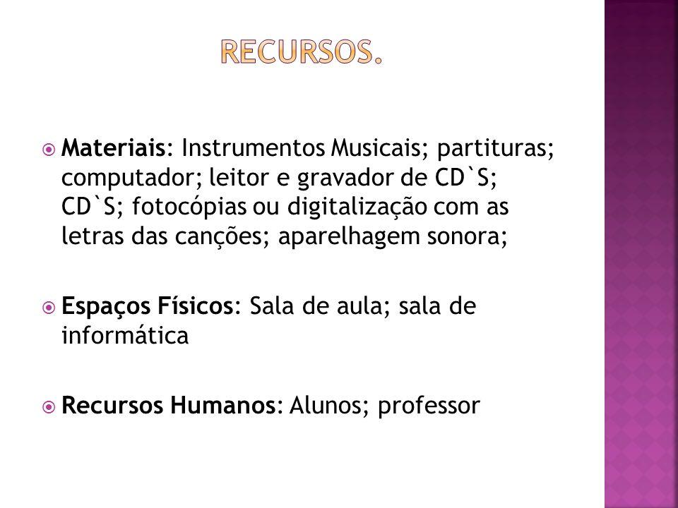 Materiais: Instrumentos Musicais; partituras; computador; leitor e gravador de CD`S; CD`S; fotocópias ou digitalização com as letras das canções; apar