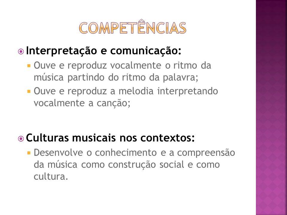 Interpretação e comunicação: Ouve e reproduz vocalmente o ritmo da música partindo do ritmo da palavra; Ouve e reproduz a melodia interpretando vocalm