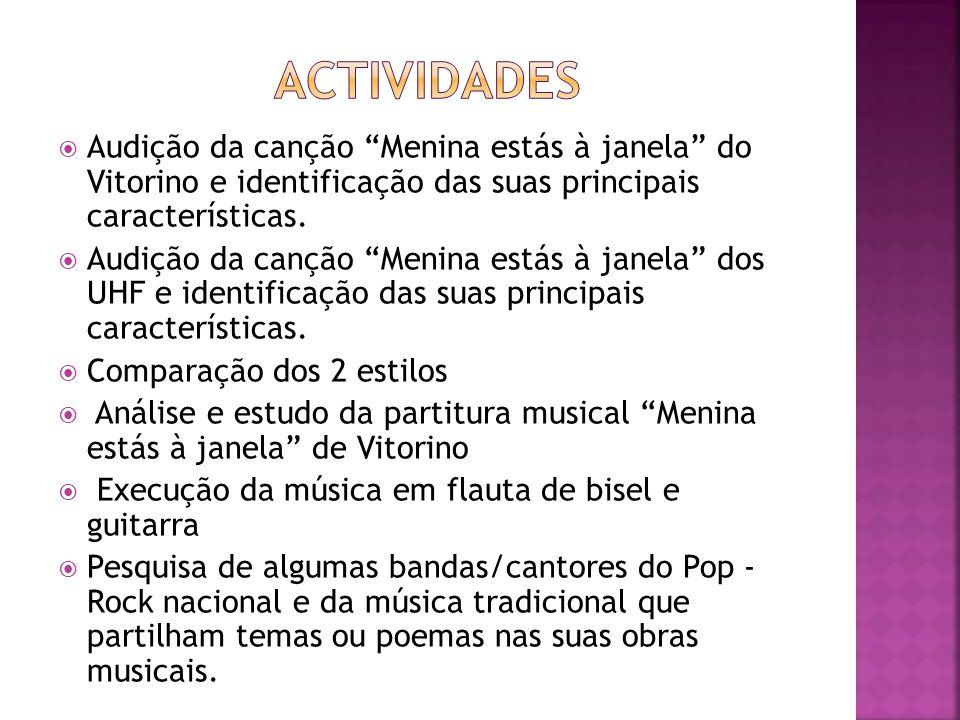 Audição da canção Menina estás à janela do Vitorino e identificação das suas principais características. Audição da canção Menina estás à janela dos U