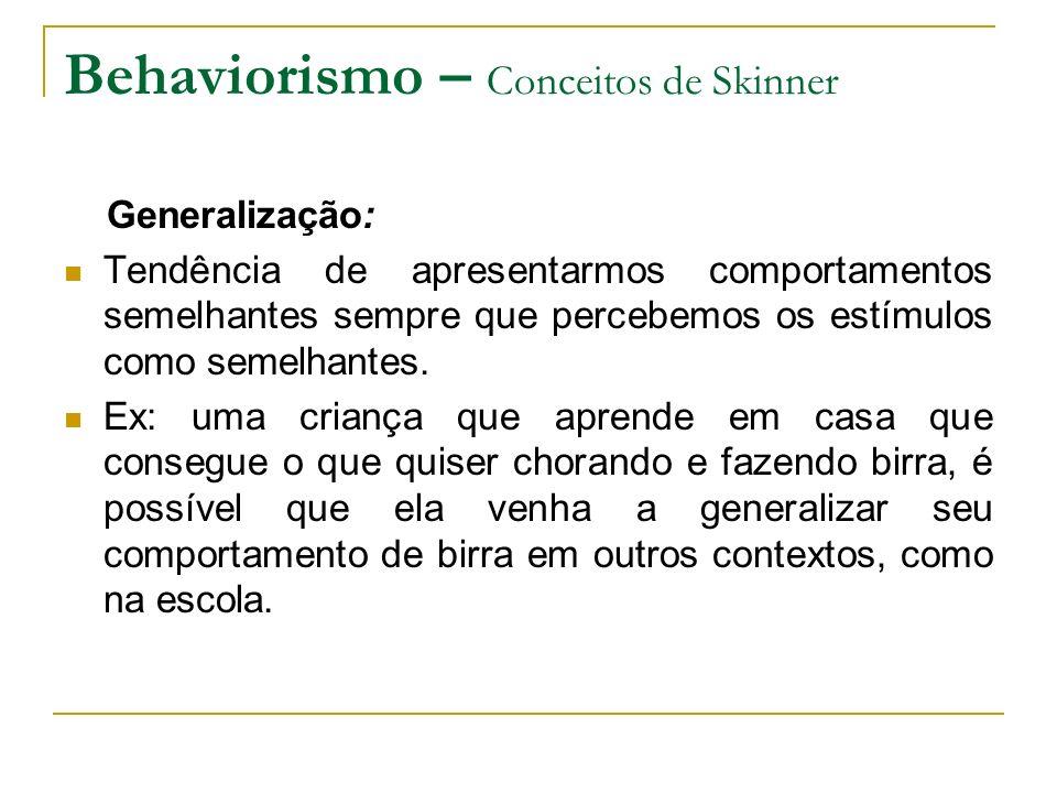 Behaviorismo – Conceitos de Skinner Generalização: Tendência de apresentarmos comportamentos semelhantes sempre que percebemos os estímulos como semel
