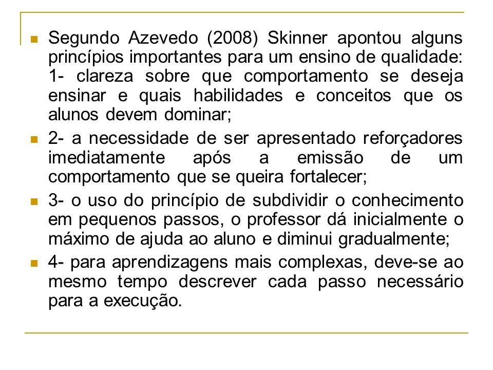 Segundo Azevedo (2008) Skinner apontou alguns princípios importantes para um ensino de qualidade: 1- clareza sobre que comportamento se deseja ensinar
