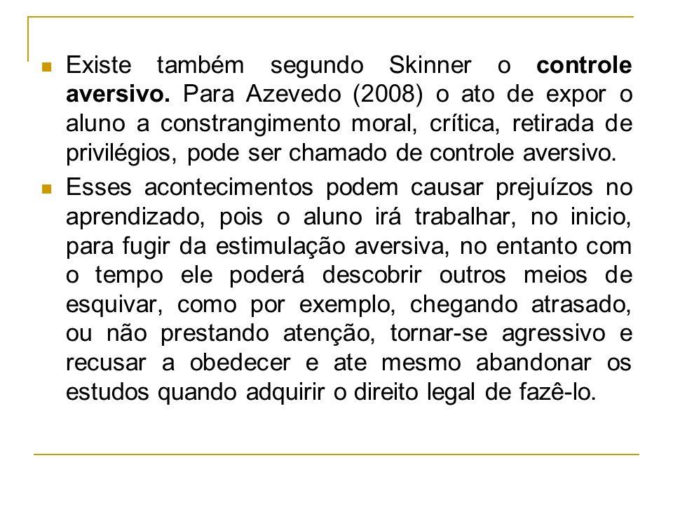 Existe também segundo Skinner o controle aversivo. Para Azevedo (2008) o ato de expor o aluno a constrangimento moral, crítica, retirada de privilégio