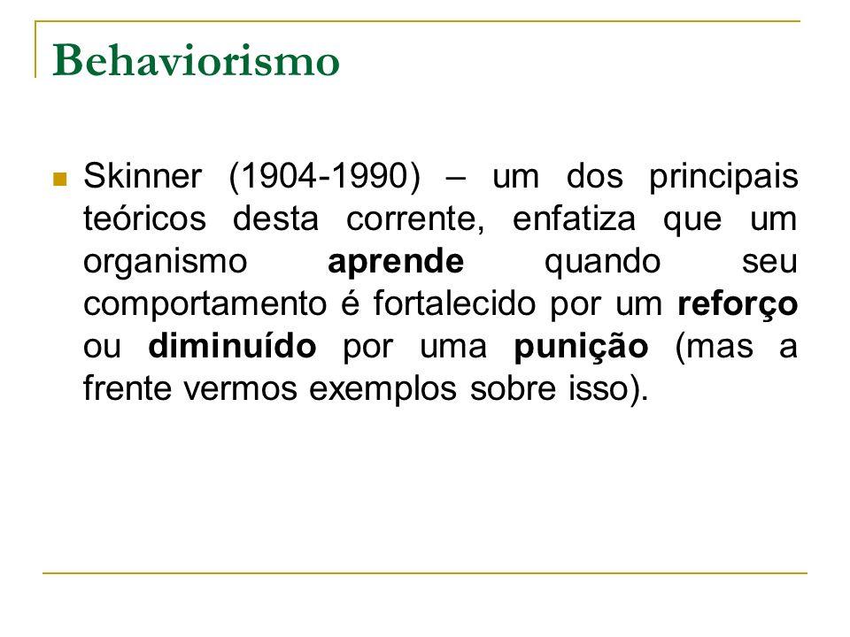 Behaviorismo Skinner (1904-1990) – um dos principais teóricos desta corrente, enfatiza que um organismo aprende quando seu comportamento é fortalecido