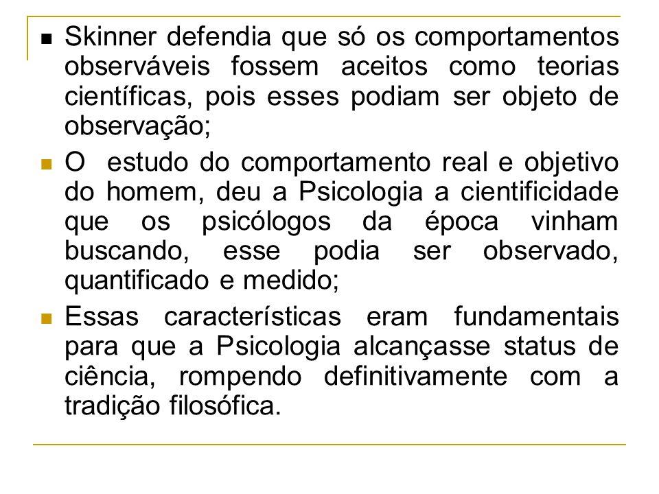 Skinner defendia que só os comportamentos observáveis fossem aceitos como teorias científicas, pois esses podiam ser objeto de observação; O estudo do