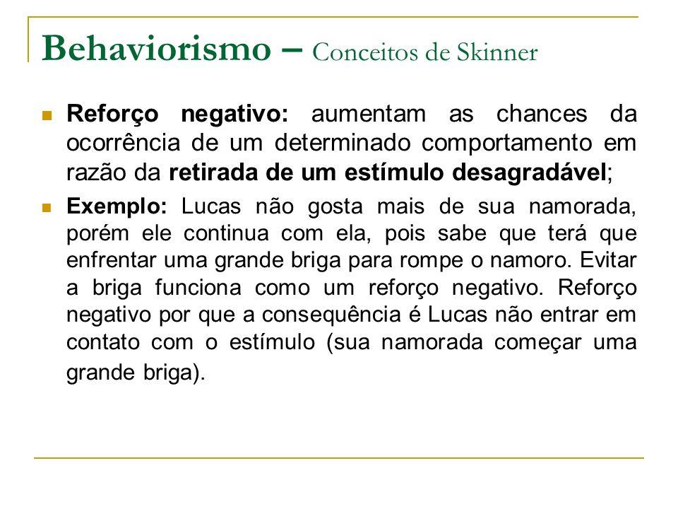 Behaviorismo – Conceitos de Skinner Reforço negativo: aumentam as chances da ocorrência de um determinado comportamento em razão da retirada de um est