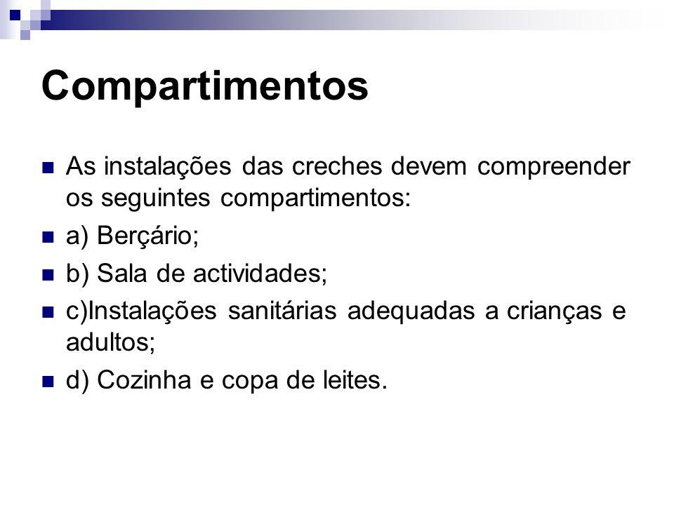 Compartimentos As instalações das creches devem compreender os seguintes compartimentos: a) Berçário; b) Sala de actividades; c)Instalações sanitárias