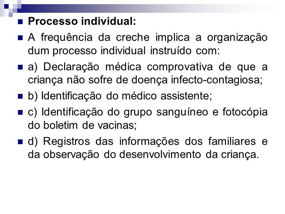 Processo individual: A frequência da creche implica a organização dum processo individual instruído com: a) Declaração médica comprovativa de que a cr