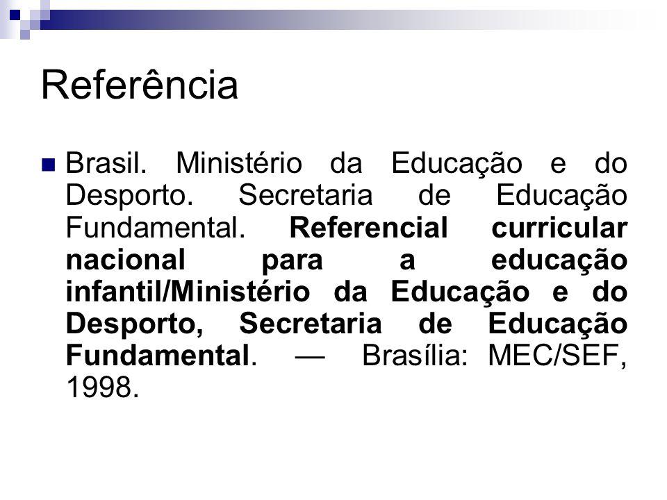 Referência Brasil. Ministério da Educação e do Desporto. Secretaria de Educação Fundamental. Referencial curricular nacional para a educação infantil/