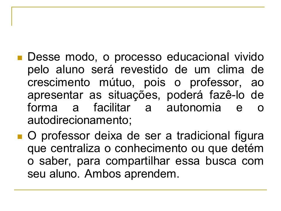 Desse modo, o processo educacional vivido pelo aluno será revestido de um clima de crescimento mútuo, pois o professor, ao apresentar as situações, po