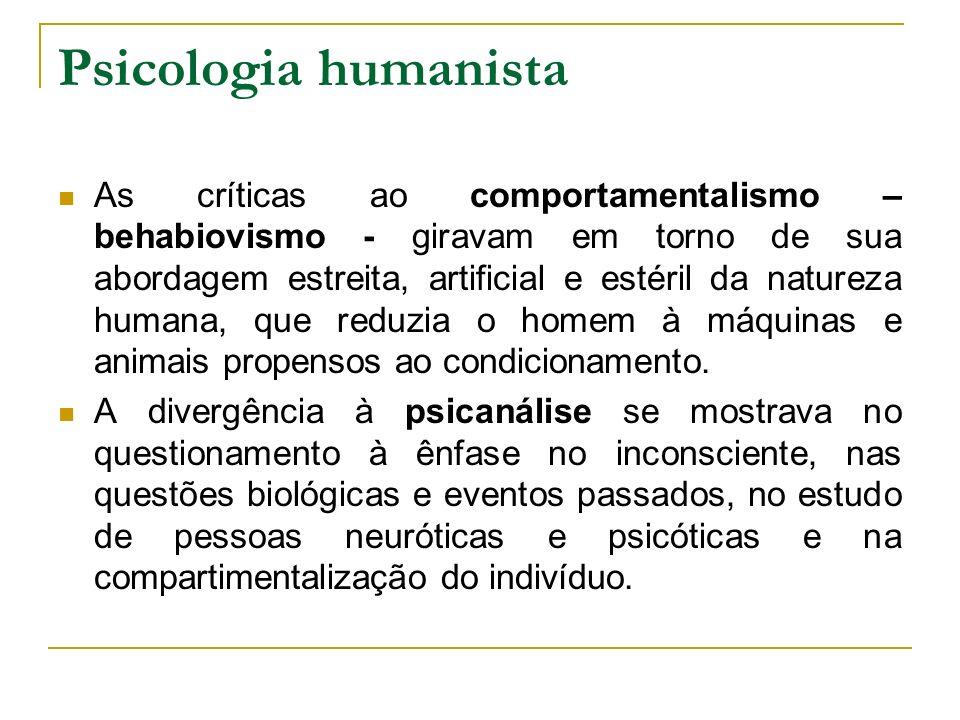 Psicologia humanista As críticas ao comportamentalismo – behabiovismo - giravam em torno de sua abordagem estreita, artificial e estéril da natureza h