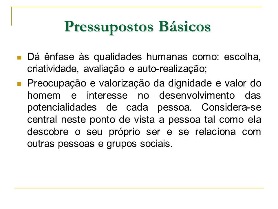 Pressupostos Básicos Dá ênfase às qualidades humanas como: escolha, criatividade, avaliação e auto-realização; Preocupação e valorização da dignidade