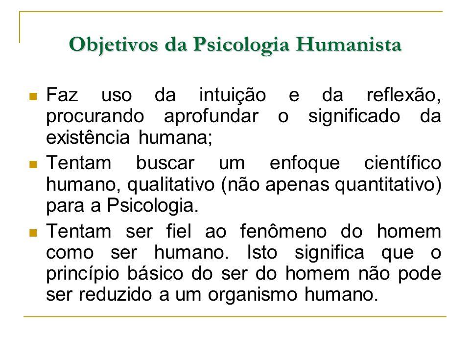Objetivos da Psicologia Humanista Faz uso da intuição e da reflexão, procurando aprofundar o significado da existência humana; Tentam buscar um enfoqu