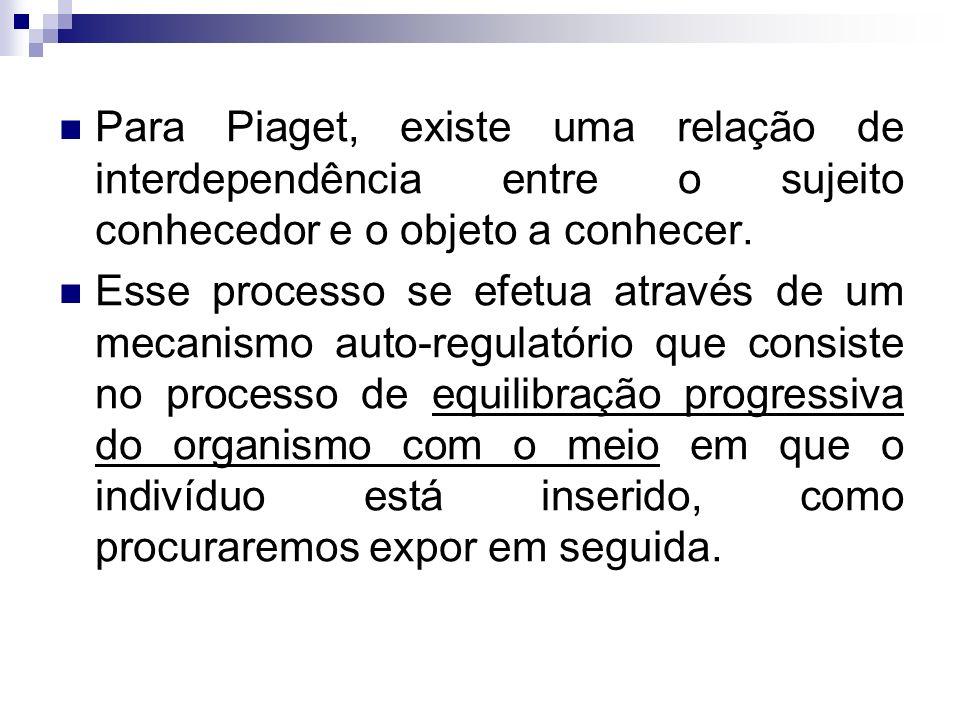 Para Piaget, existe uma relação de interdependência entre o sujeito conhecedor e o objeto a conhecer. Esse processo se efetua através de um mecanismo