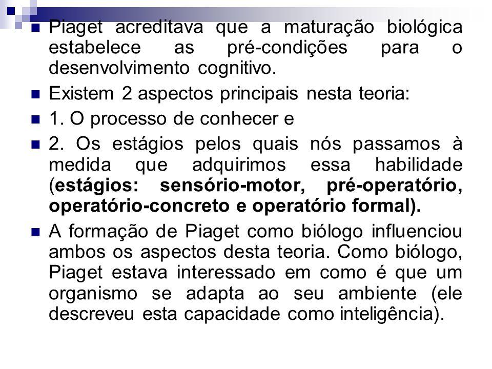 Piaget acreditava que a maturação biológica estabelece as pré-condições para o desenvolvimento cognitivo. Existem 2 aspectos principais nesta teoria: