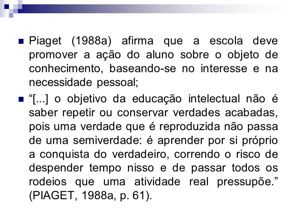 Piaget (1988a) afirma que a escola deve promover a ação do aluno sobre o objeto de conhecimento, baseando-se no interesse e na necessidade pessoal; [.