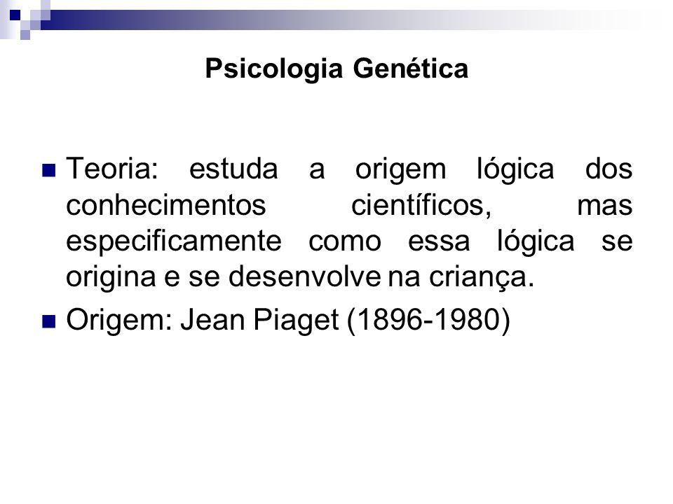 Psicologia Genética Teoria: estuda a origem lógica dos conhecimentos científicos, mas especificamente como essa lógica se origina e se desenvolve na c