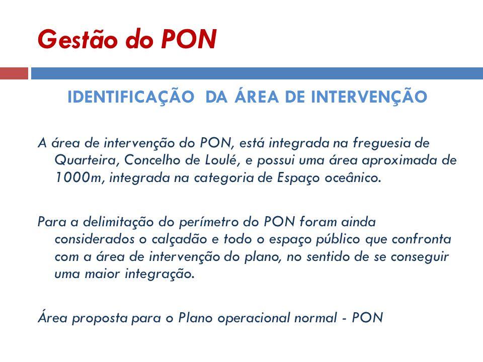 Gestão do PON IDENTIFICAÇÃO DA ÁREA DE INTERVENÇÃO A área de intervenção do PON, está integrada na freguesia de Quarteira, Concelho de Loulé, e possui