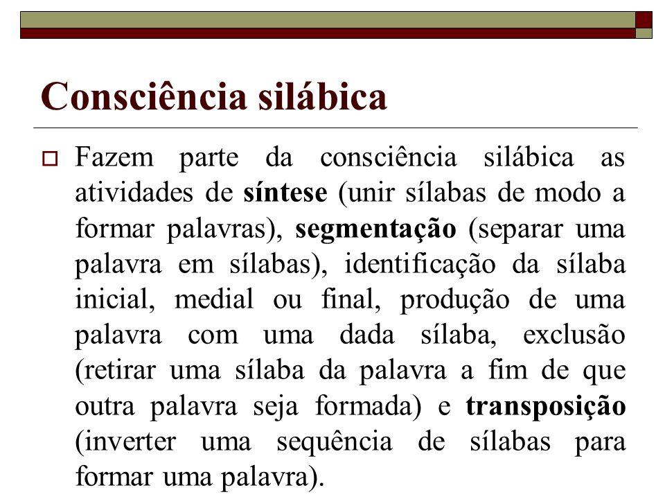Consciência silábica Fazem parte da consciência silábica as atividades de síntese (unir sílabas de modo a formar palavras), segmentação (separar uma p