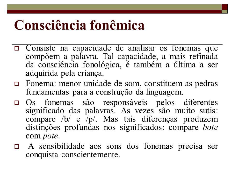 Consciência fonêmica Consiste na capacidade de analisar os fonemas que compõem a palavra. Tal capacidade, a mais refinada da consciência fonológica, é