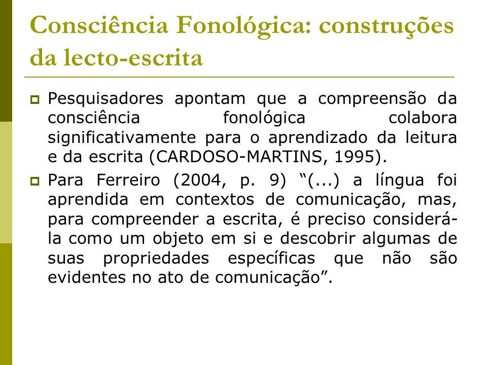 Consciência Fonológica: construções da lecto-escrita Pesquisadores apontam que a compreensão da consciência fonológica colabora significativamente par