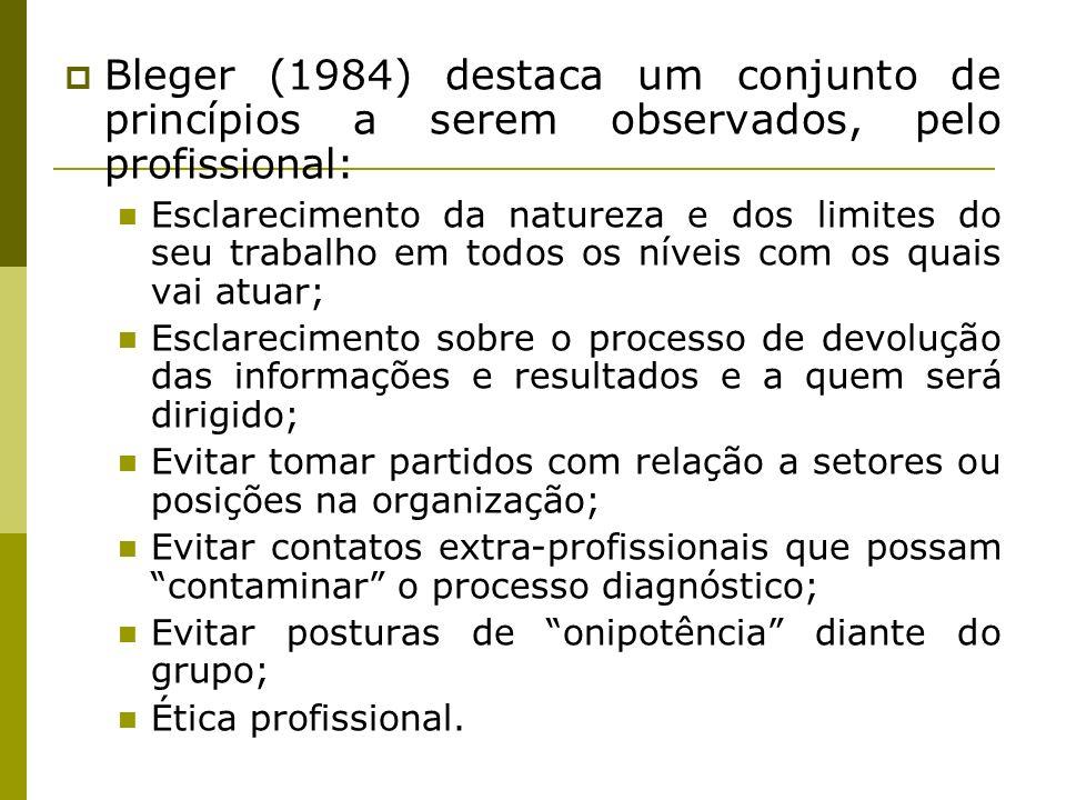 Bleger (1984) destaca um conjunto de princípios a serem observados, pelo profissional: Esclarecimento da natureza e dos limites do seu trabalho em tod