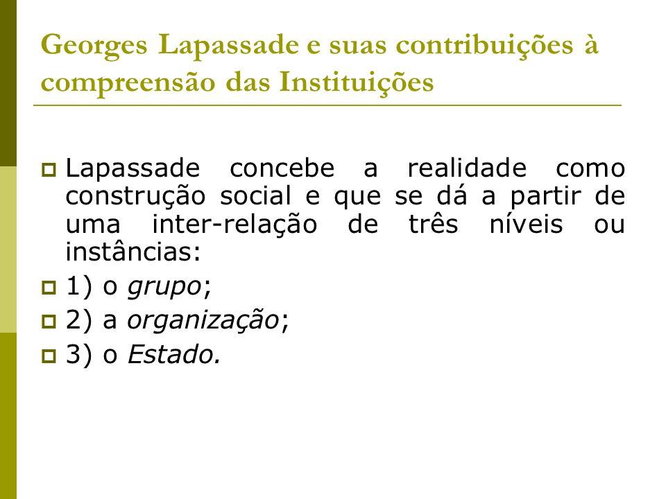 Georges Lapassade e suas contribuições à compreensão das Instituições Lapassade concebe a realidade como construção social e que se dá a partir de uma