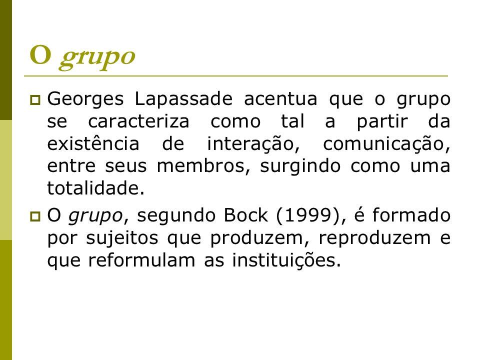 O grupo Georges Lapassade acentua que o grupo se caracteriza como tal a partir da existência de interação, comunicação, entre seus membros, surgindo c