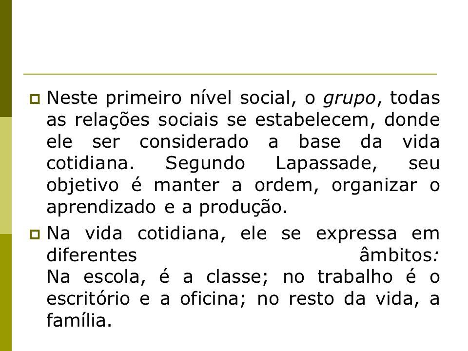Neste primeiro nível social, o grupo, todas as relações sociais se estabelecem, donde ele ser considerado a base da vida cotidiana. Segundo Lapassade,