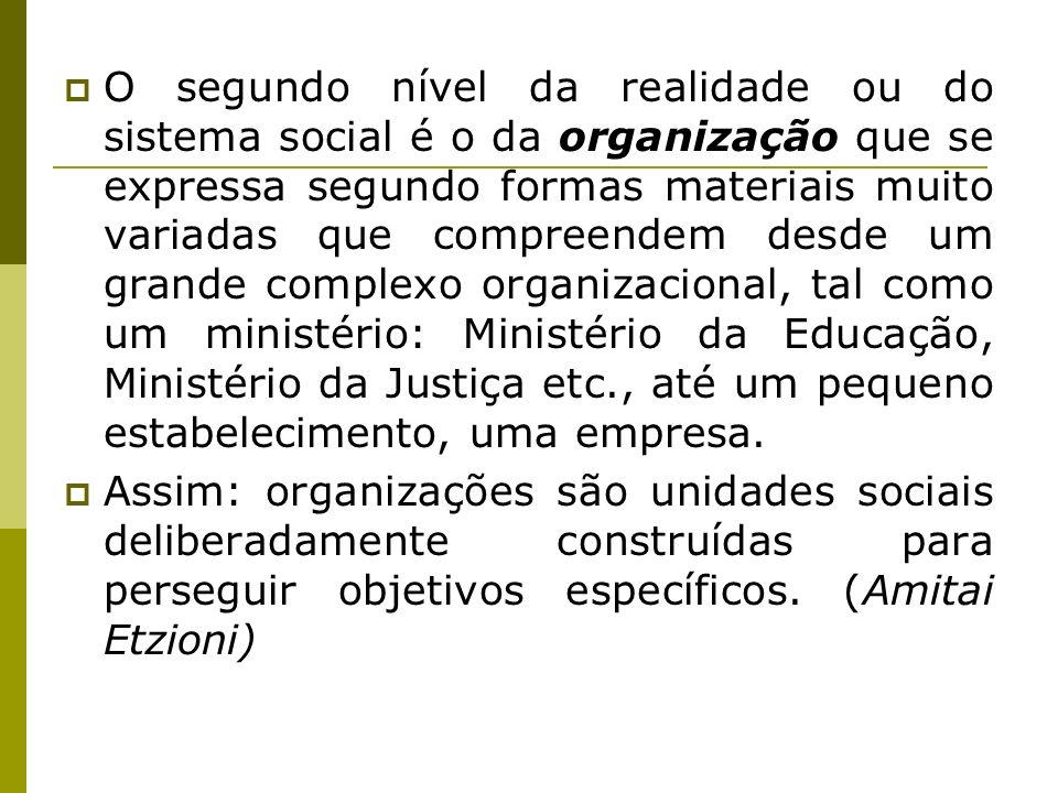 O segundo nível da realidade ou do sistema social é o da organização que se expressa segundo formas materiais muito variadas que compreendem desde um