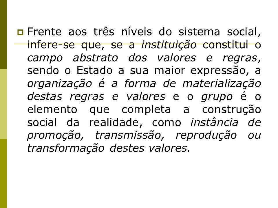 Frente aos três níveis do sistema social, infere-se que, se a instituição constitui o campo abstrato dos valores e regras, sendo o Estado a sua maior