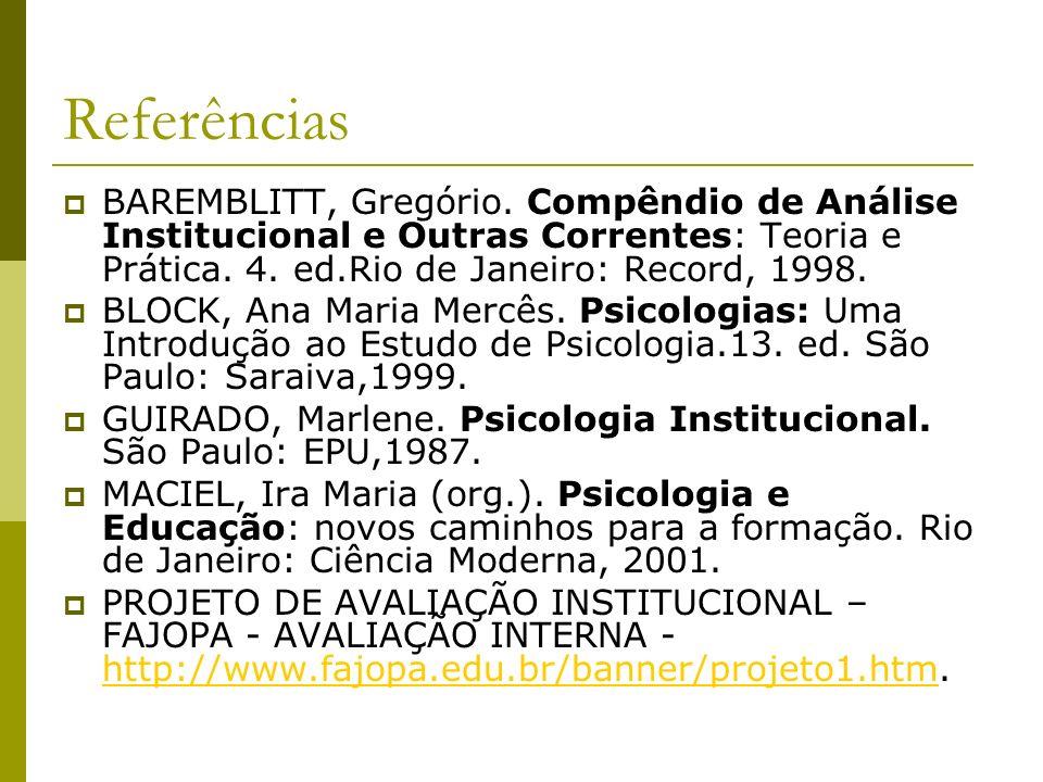 Referências BAREMBLITT, Gregório. Compêndio de Análise Institucional e Outras Correntes: Teoria e Prática. 4. ed.Rio de Janeiro: Record, 1998. BLOCK,