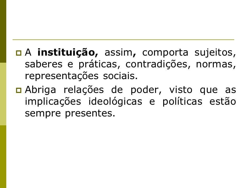 A instituição, assim, comporta sujeitos, saberes e práticas, contradições, normas, representações sociais. Abriga relações de poder, visto que as impl