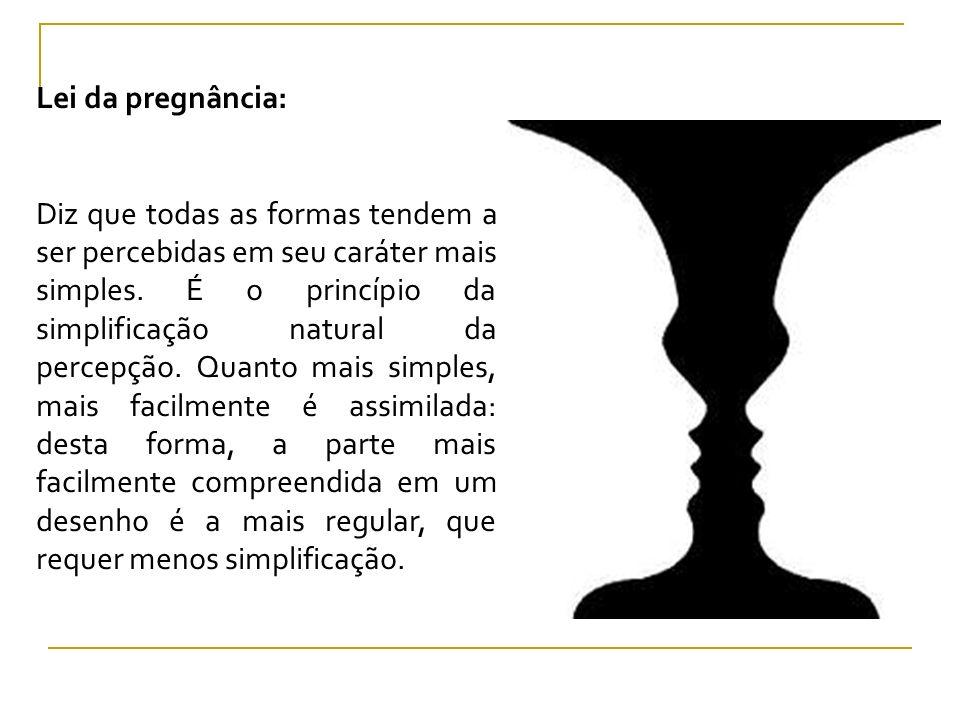 Lei da pregnância: Diz que todas as formas tendem a ser percebidas em seu caráter mais simples. É o princípio da simplificação natural da percepção. Q