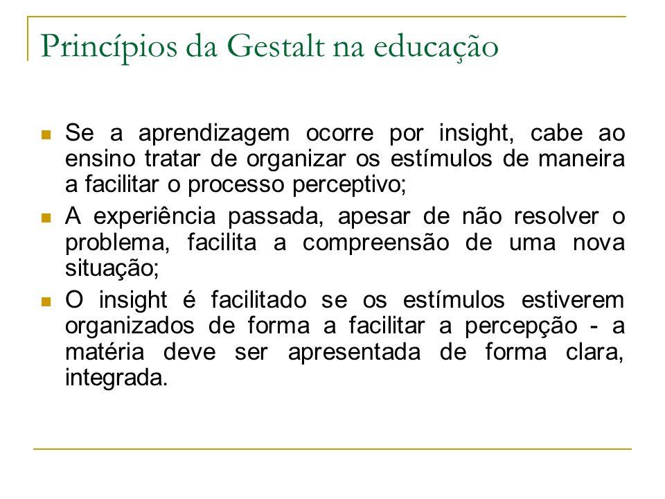Princípios da Gestalt na educação Se a aprendizagem ocorre por insight, cabe ao ensino tratar de organizar os estímulos de maneira a facilitar o proce