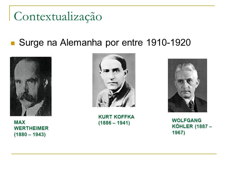 Contextualização Surge na Alemanha por entre 1910-1920 MAX WERTHEIMER (1880 – 1943) KURT KOFFKA (1886 – 1941) WOLFGANG KÖHLER (1887 – 1967)