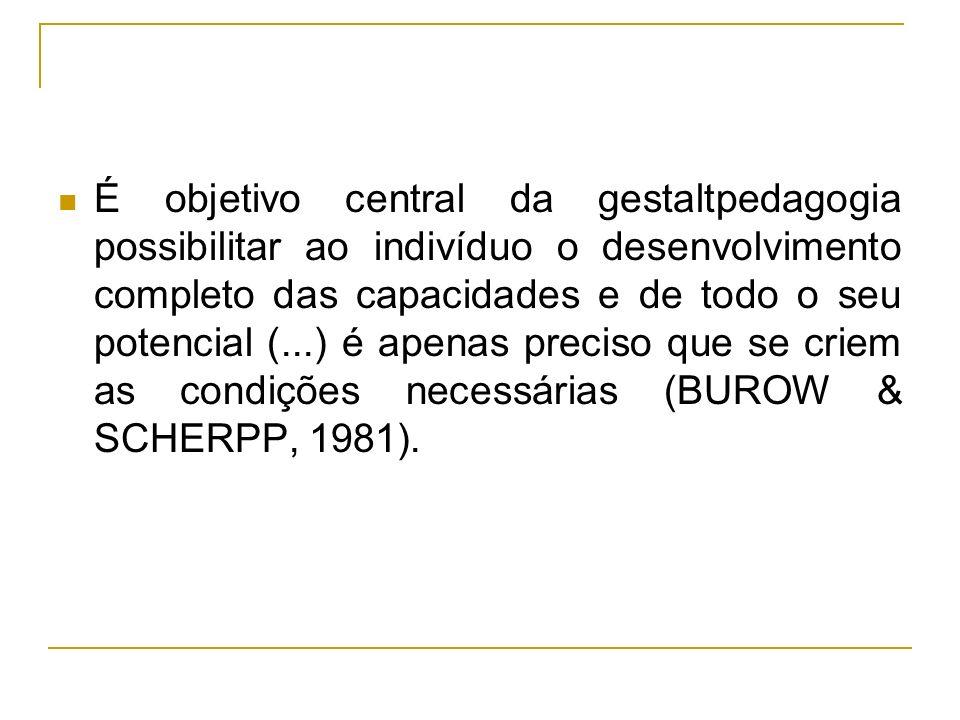 É objetivo central da gestaltpedagogia possibilitar ao indivíduo o desenvolvimento completo das capacidades e de todo o seu potencial (...) é apenas p